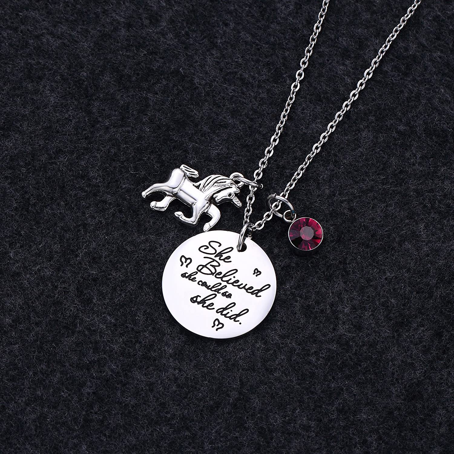Fullrainbow Unicorn Necklace Inspirational Necklace Birthstone Pendant Necklace She Believed She Could So She Did Necklace for Girls
