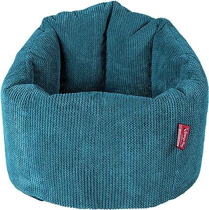 Lounge Pug Egeo Blu Poltrona Sacco Classico con poggiapiedi Pompon