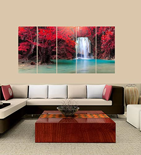 PEACOCK JEWELS Premium Quality Canvas Printed Wall Art Poster 5 Pieces 5 Pannel Wall Decor Waterfall with Sunlight Rays in Deep Forest Painting, Home Decor Pictures – with Wooden Frame