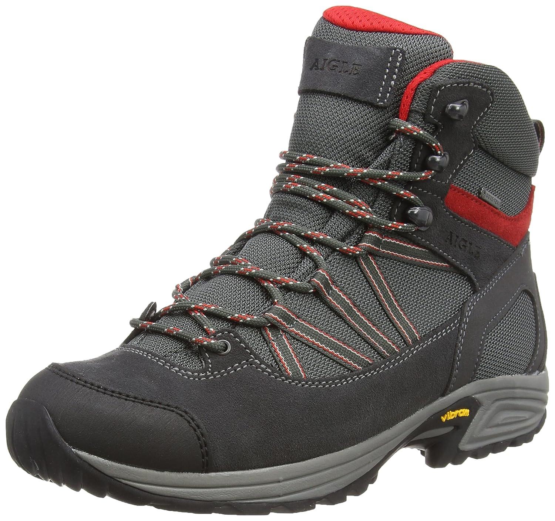 Grau (Darkgrau rot) Aigle Herren Mooven Mid Gtx Trekking- und Wanderhalbschuhe