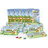 12 Sets Of Zoo Mini Coloring Books and Crayons - Zoo Animal Party Favors Sets Includes 12 Coloring Books, 12 Boxes Zoo Animal Crayons - Play Kreative TM