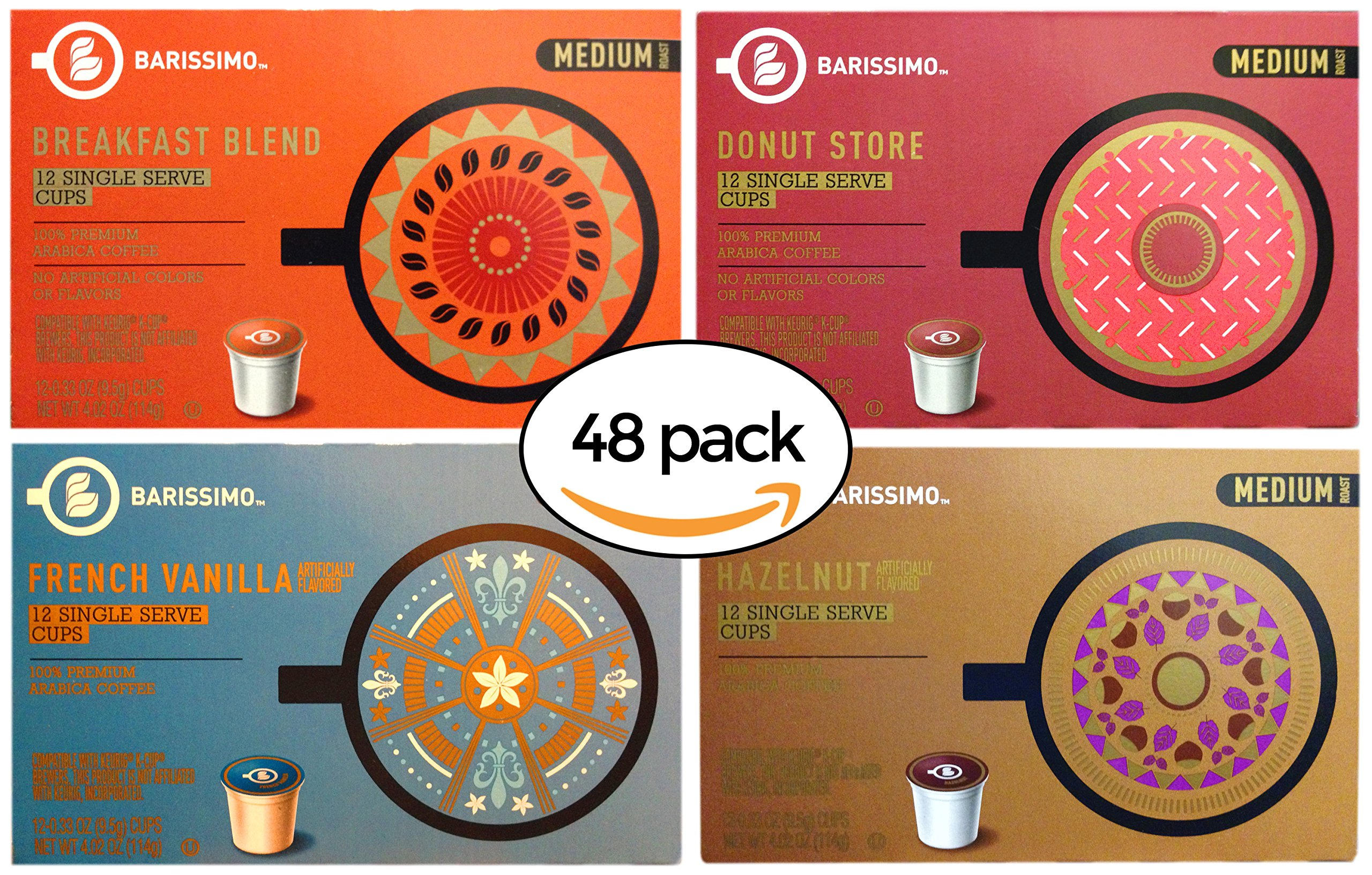 Barissimo Coffee Keurig K-Cup Variety Pack - Breakfast Blend, Donut Store, French Vanilla, Hazelnut by Barissimo