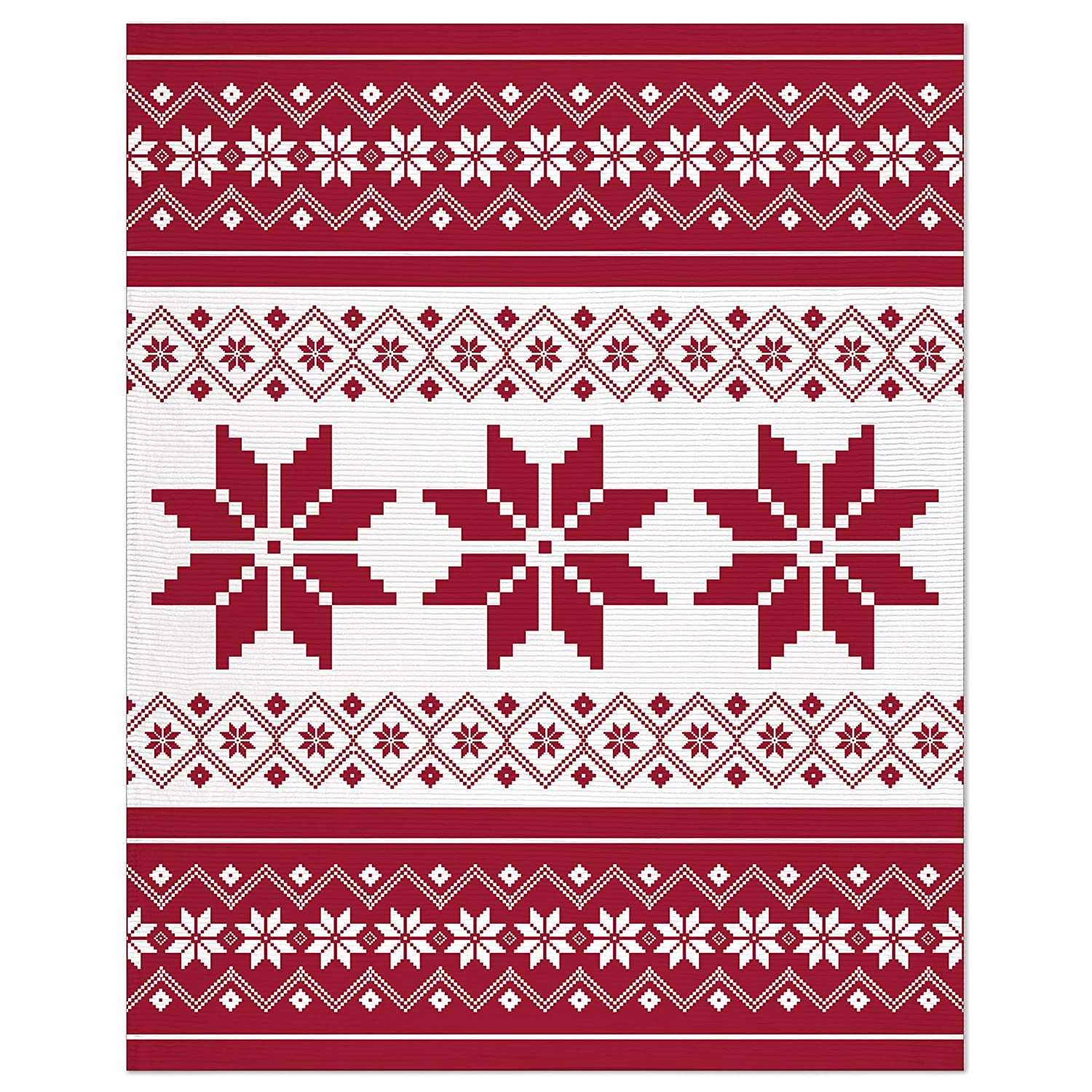 Safdie /& Co Christmas Flannel Ribbed 50X60 Fair Isle Ultra Soft Throw Red 65767.ZX.03