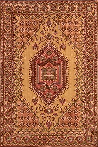 Mad Mats Oriental Turkish Indoor Outdoor Floor Mat, 6 by 9-Feet, Rust