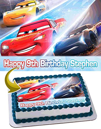 Cars 3 Disney Pixar Personalized Cake Toppers Icing Sugar Paper A4 Sheet Edible Frosting Photo Birthday