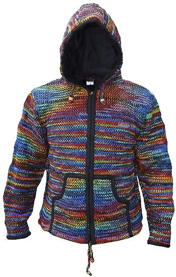 24fdf890 LITTLE KATHMANDU Men's Tie Dye Woolen Knitted Fleece Lined Festival Hoodie  Jacket Black Rainbow Small