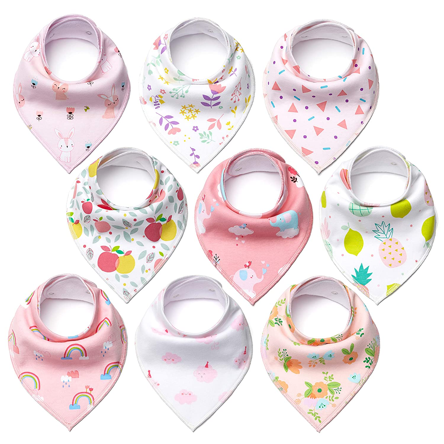 HJH Baby Bandana Bibs for Girls (9-Pack) Cute Pink Colors and Graphics | Plush, Super Absorbent Cotton | Nickel-Free Adjustable Snaps | Teething, Drooling, Feeding