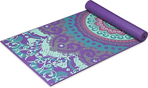 Gaiam Yoga Mat – Classic 4mm Print Thick Non Slip Exercise Fitness Mat for All Types of Yoga, Pilates Floor Workouts 68 x 24 x 4mm