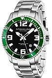 Stuhrling Original Men's 395.33P154 Analog Aquadiver Regatta Champion Swiss Quartz Date Stainless Steel Link Bracelet Dive Watch