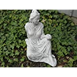 QUAN YIN Holding LOTUS FLOWER Zen ORIENTAL Asian CEMENT Antique GRAY Finish OUTDOOR Indoor GARDEN Statuary CAST CEMENT Made in the USA