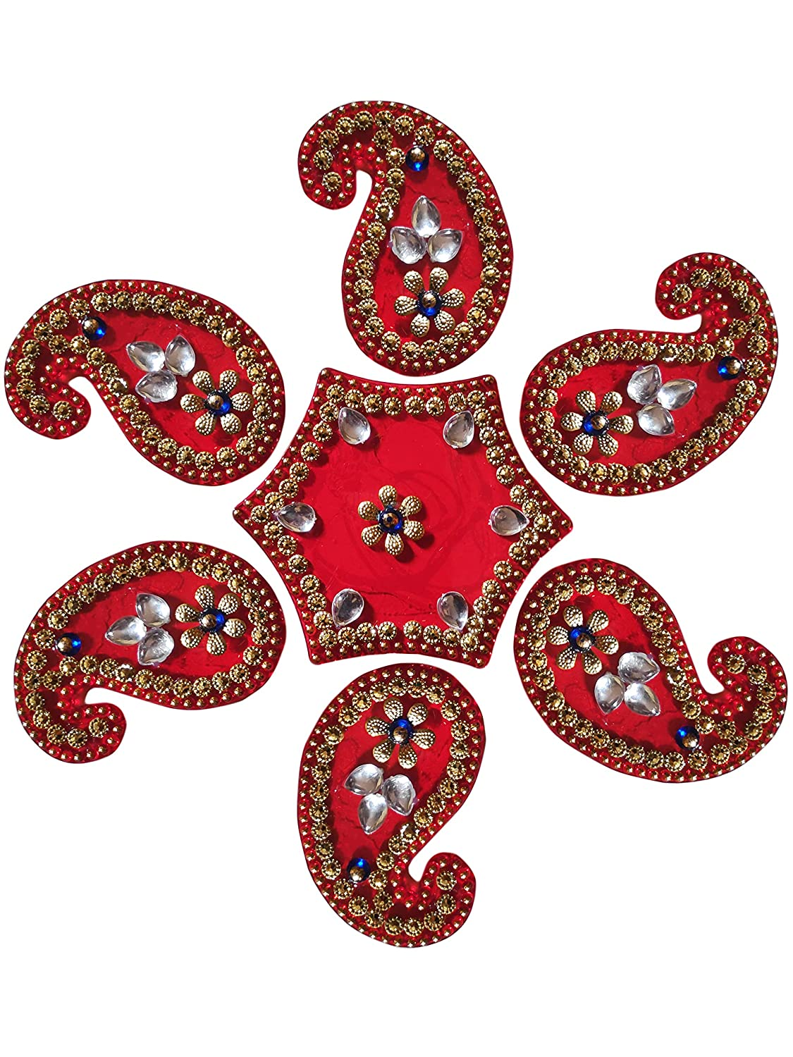 Super Rakhi For Brother Paisley Design Diwali Rangoli Floor Decorations Acrylic Paisley Shape with Studded Stones and Sequins, Traditional Festive Home Decor Super Rakhi Store