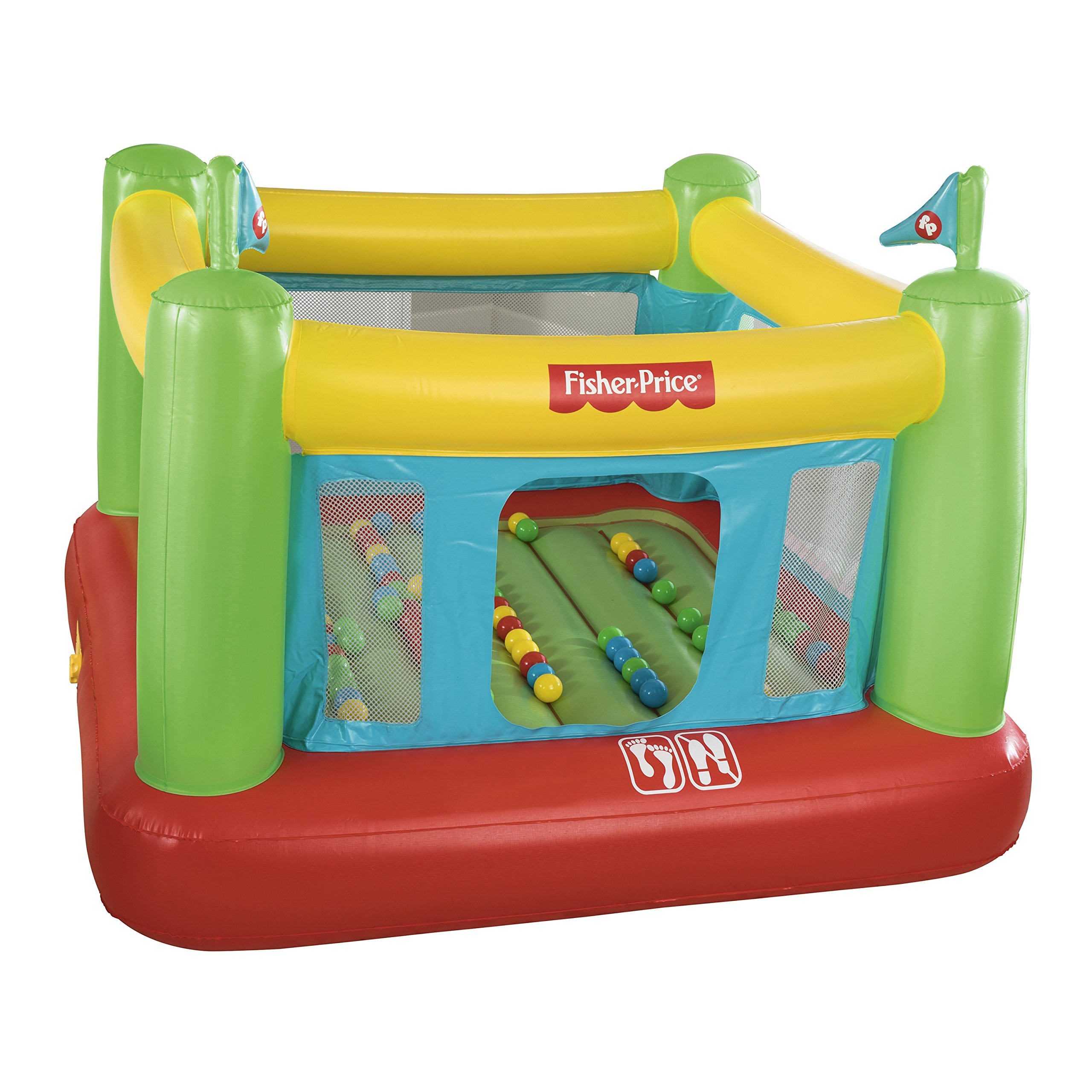 Fisher-Price 93532E Bouncesational Bouncer - Inflatable Bounce House, Green, Yellow, Red, Blue