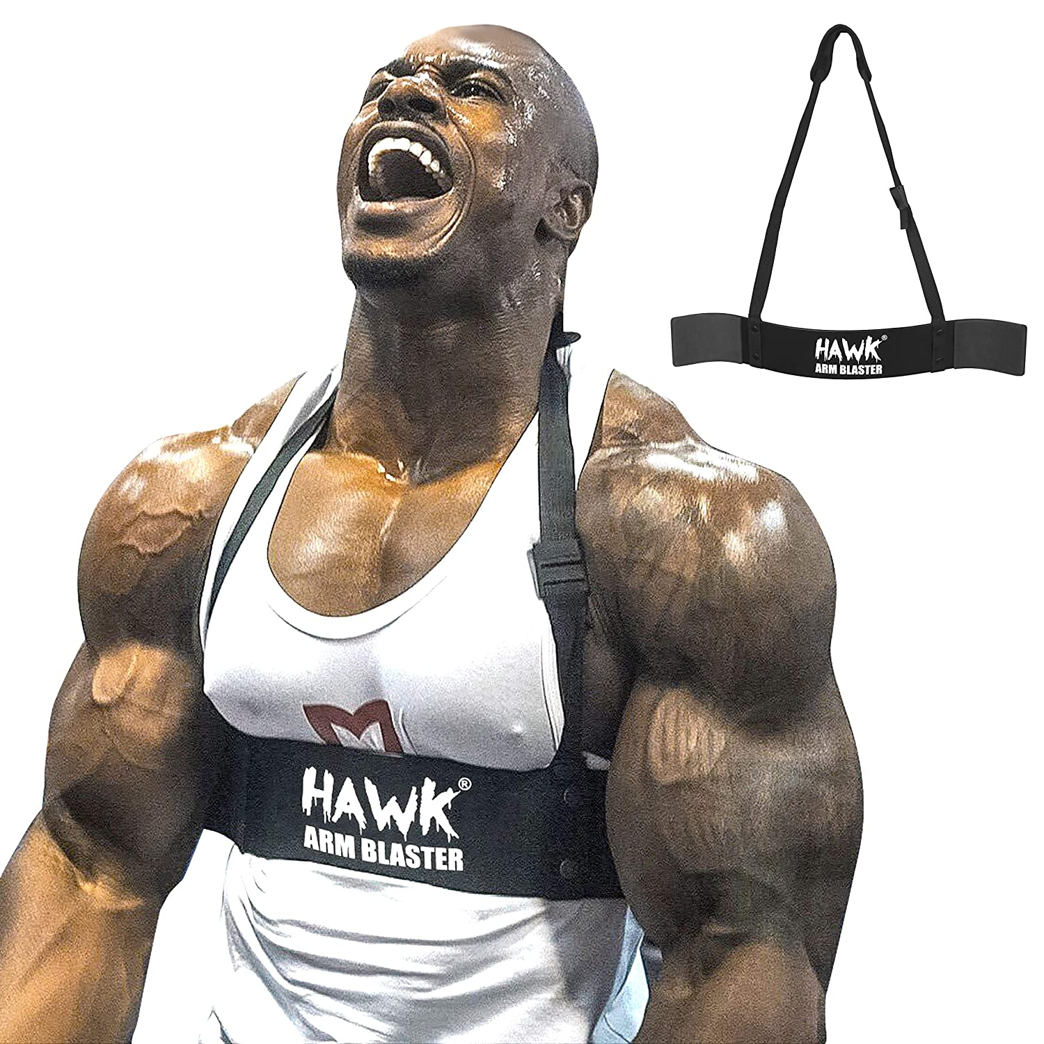 Hawk Sports Arm Blaster for Biceps Triceps Dumbbells Barbells Curls Muscle Builder Bicep Isolator for Big Arms Bodybuilding Weight Lifting Support for Strength Muscle Gains