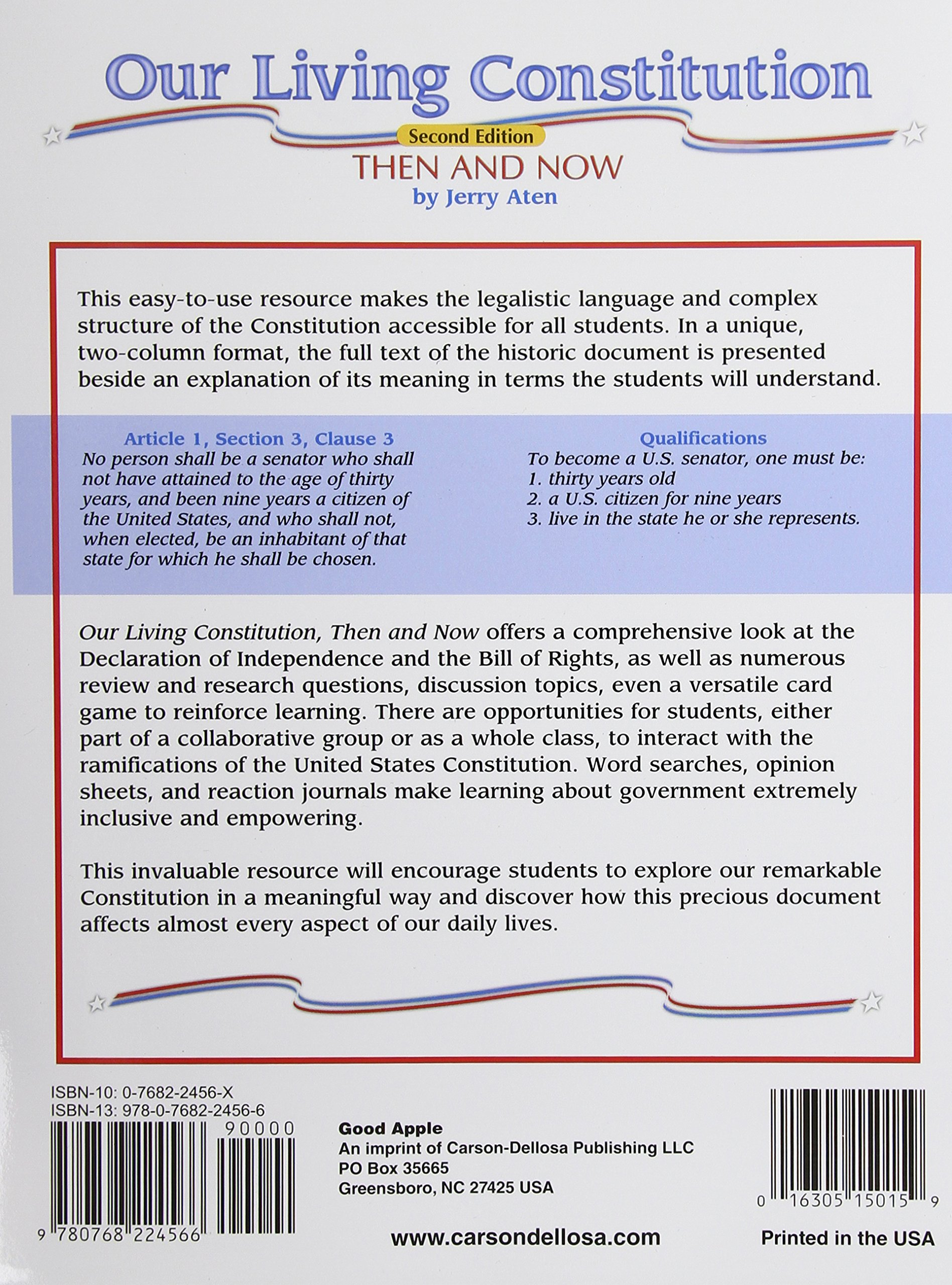 Amazon Our Living Constitution Grades 5 To 8 American History