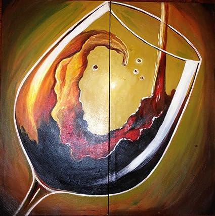 Amazon.com: Zartsy 100% Hand Painted Modern Abstract Still Life Wine ...