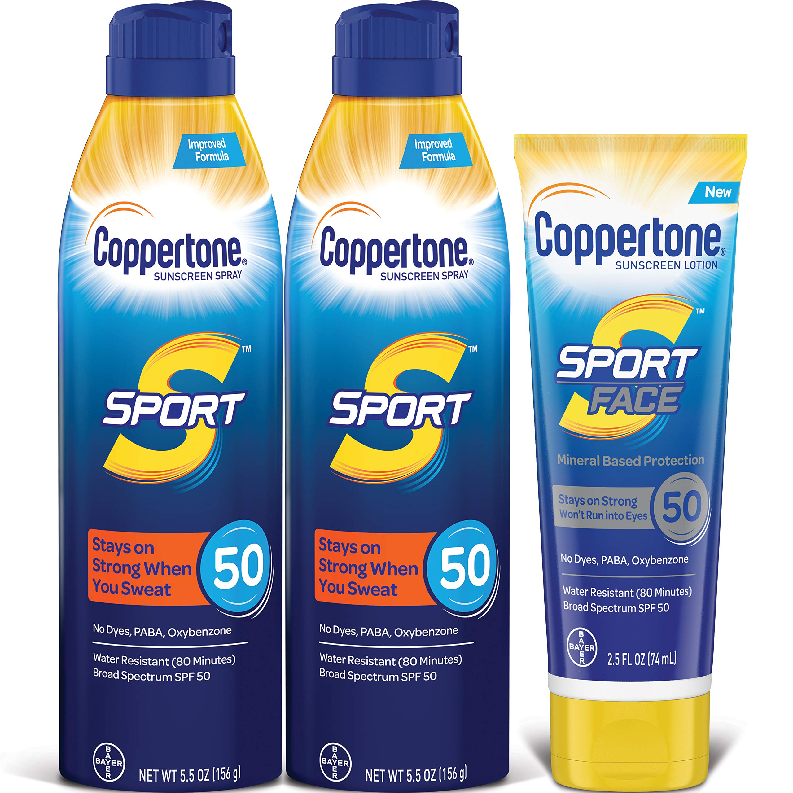 Coppertone SPORT SPF 50 Sunscreen Spray + SPORT Face SPF 50 Mineral Based Sunscreen Lotion Multipack (Two 5.5 Ounce Sprays + One 2.5 FL Ounce Lotion)