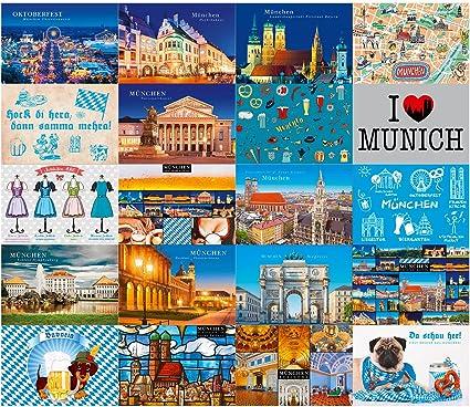 gutsch Verlag 4031812002643 Tarjetas postales City Edition München, paquete de 20: Amazon.es: Oficina y papelería