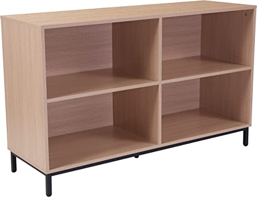 Flash Furniture Dudley 4 Shelf 29.5 H Open Bookcase Storage in Oak Wood Grain Finish