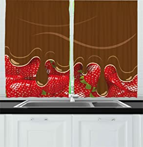 Ambesonne Strawberry Kitchen Curtains, Strawberries Melted Chocolate Confectionery Fruit Delicacies Food Art, Window Drapes 2 Panel Set for Kitchen Cafe Decor, 55