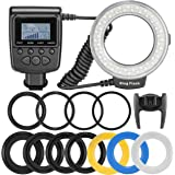 Neewer 48 Macro LED Ring Flash Light Includes 4 Diffusers (Clear, Warming, Blue, White) for Canon, Nikon, Panasonic, Olympus, Pentax SLR Cameras (Fit 49, 52, 55, 58, 62, 67, 72, 77mm Lens) , Such as Canon 650D, 600D, 550D, 70D, 60D, 5D, 5D Mark 2, 5D Mark 3, Nikon D5000, D3000, , D5100, D3100, D7000, D7100, D800, D800E, D60