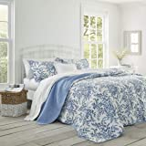 Laura Ashley Home | Bedford Collection | Luxury Premium Ultra Soft Quilt Coverlet, Comfortable 2 Piece Bedding Set, All Seaso