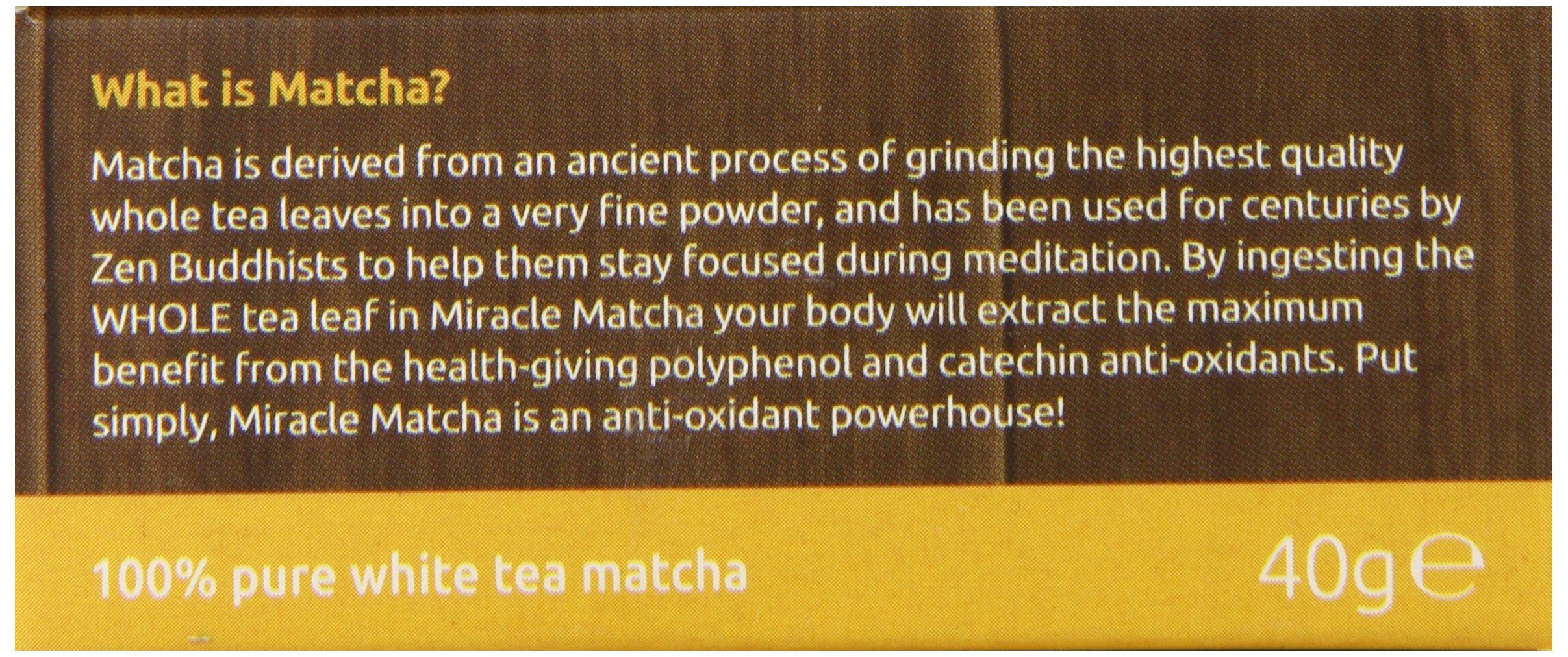 Miracle Matcha 100% Pure White Tea Matcha, 1.41 oz, Polyphenol and Catechin Antioxidants by Miracle Noodle