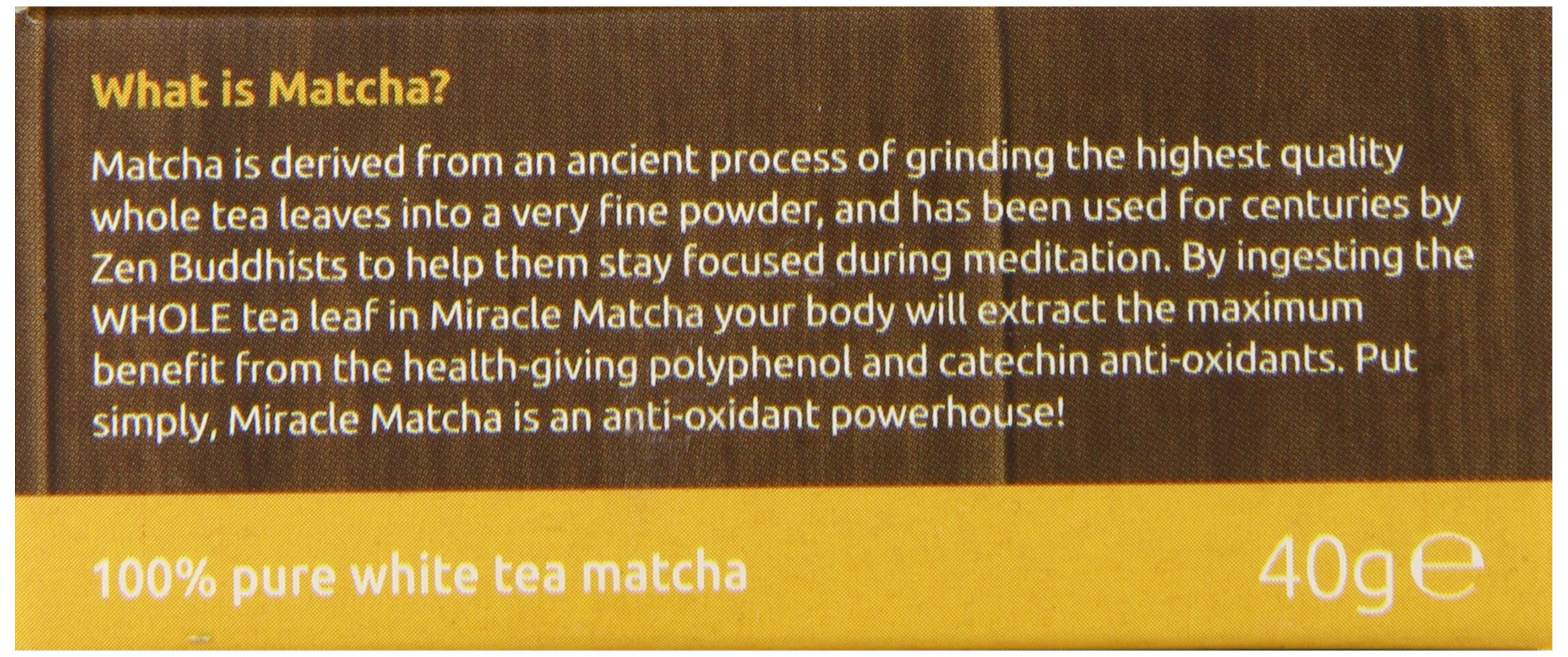 Miracle Matcha 100% Pure White Tea Matcha, 1.41 oz, Polyphenol and Catechin Antioxidants
