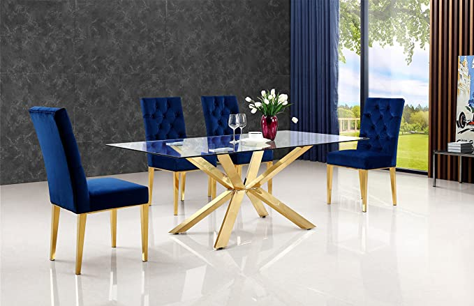 Amazon.com: Meridian Muebles Capri Mesa de comedor, Oro ...