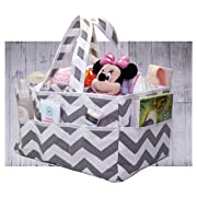 Diaper Caddy - NEW 2018: Chevron Gray Organizer - Storage Bag Great For Home, Travel and Gift Registry | Clean Easy - Strong and durable yet sophisticated