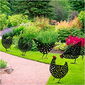 Lifelike Chicken Yard Art Outdoor Garden Backyard Lawn Stakes Metal Hen Yard Decor - Hen Decor Garden Ornaments Statue Sculpture - Hollow Out Animal Shape Decor (5, 35x30cm/13.77x11.81inch)