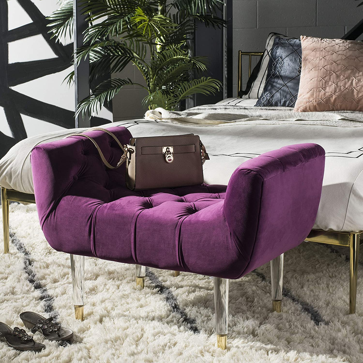 Safavieh Couture Home Eugenie 22-inch Glam Plum Velvet and Gold Tufted Acrylic Bench