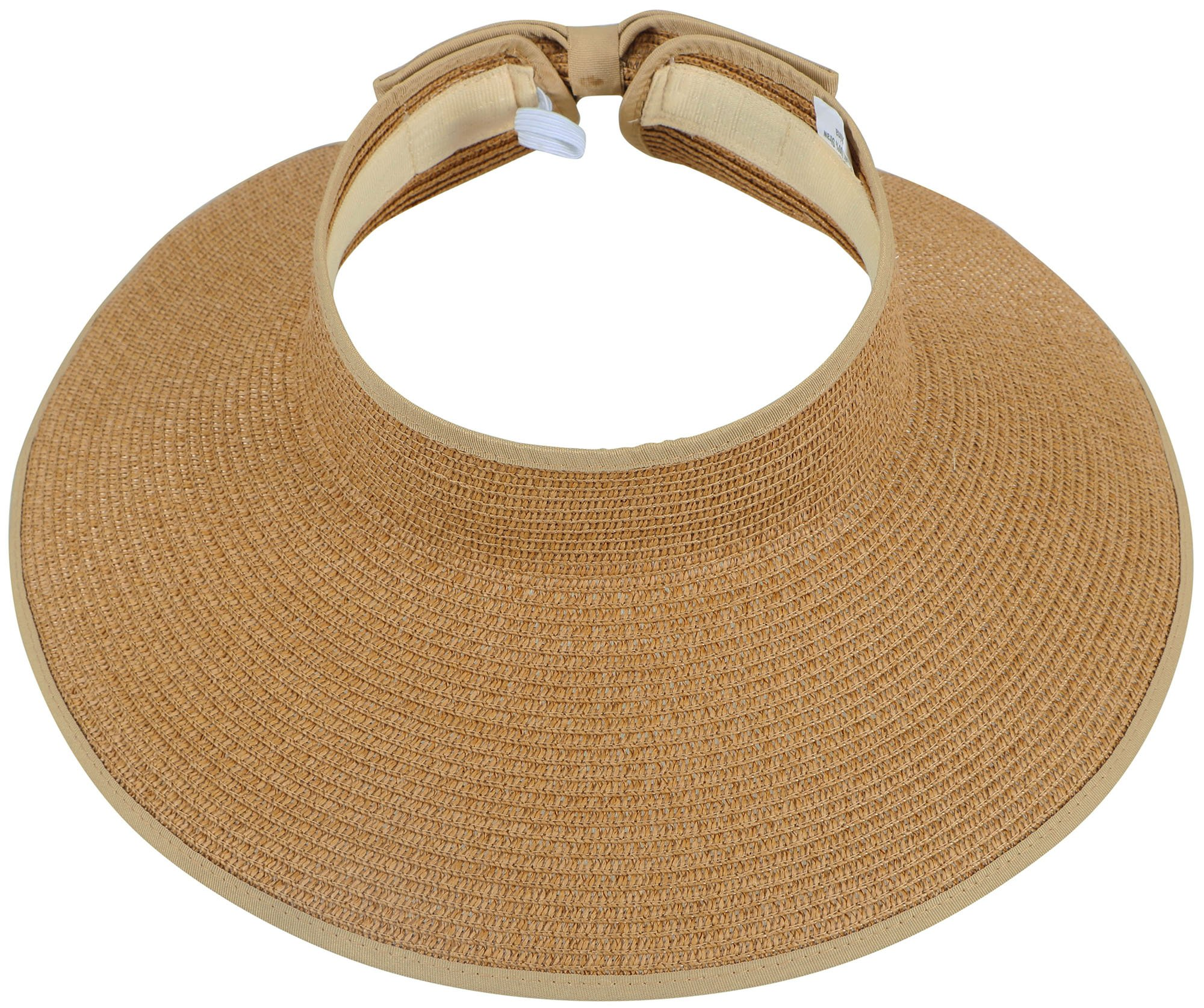 Women Summer Roll Up Foldable Wide Brim Sun Visor Straw Hat Natural