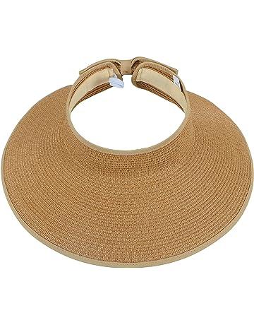 363ed84800fe0 Simplicity Women s Summer Foldable Straw Sun Visor w Cute Bowtie