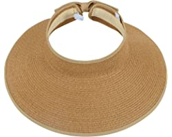 Simplicity Women's UPF 50+ Wide Brim Roll-up Straw Sun Hat Sun Visor