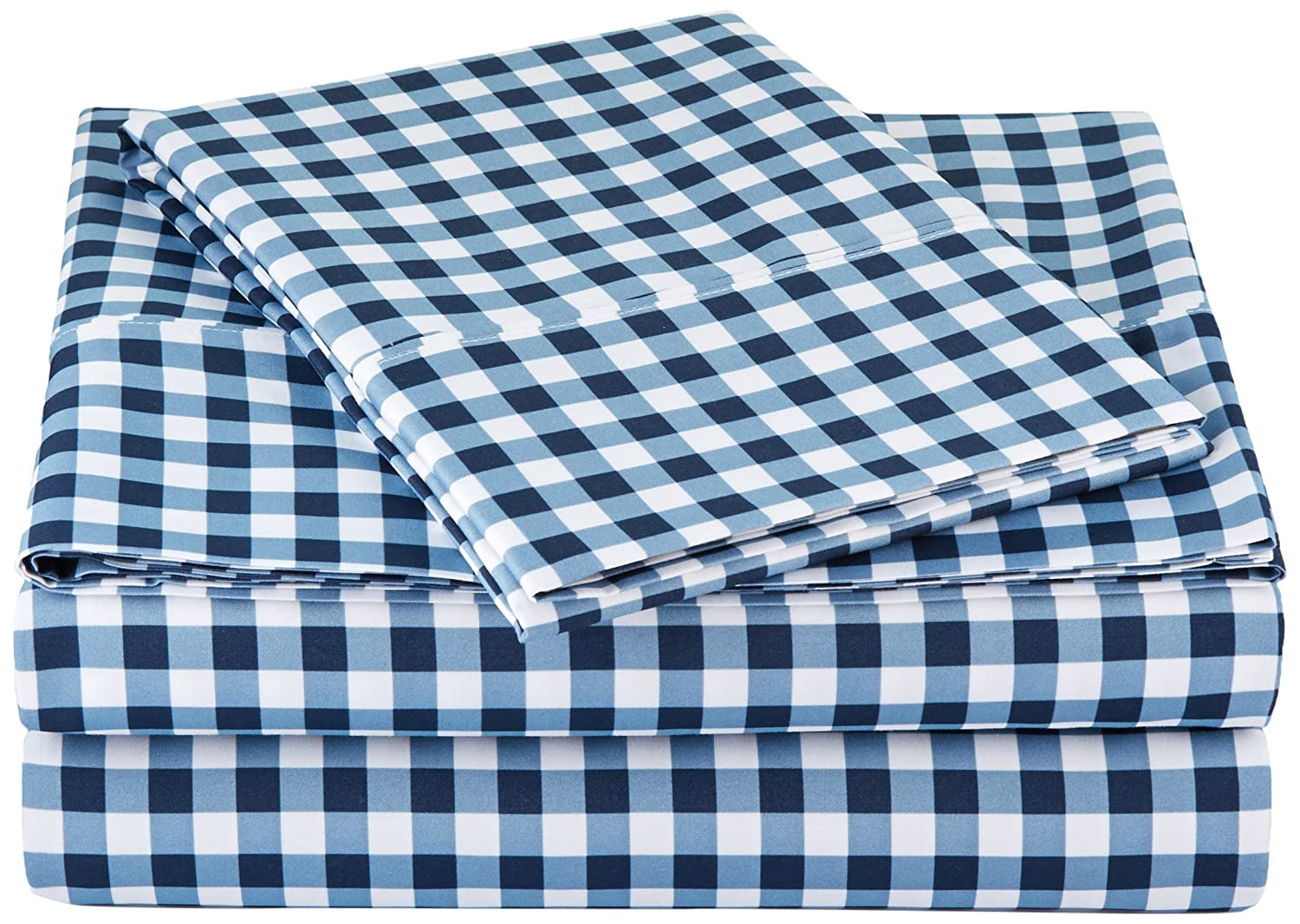 AmazonBasics Microfiber Sheet Set - Twin Extra-Long, Gingham Plaid