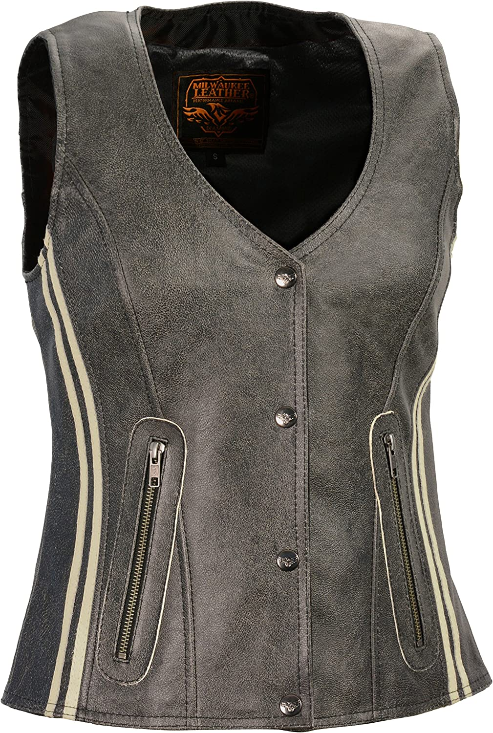 Milwaukee Leather MLL4506 Womens Grey Leather Vintage Slate Snap Front Vest with Racing Stripes X-Small