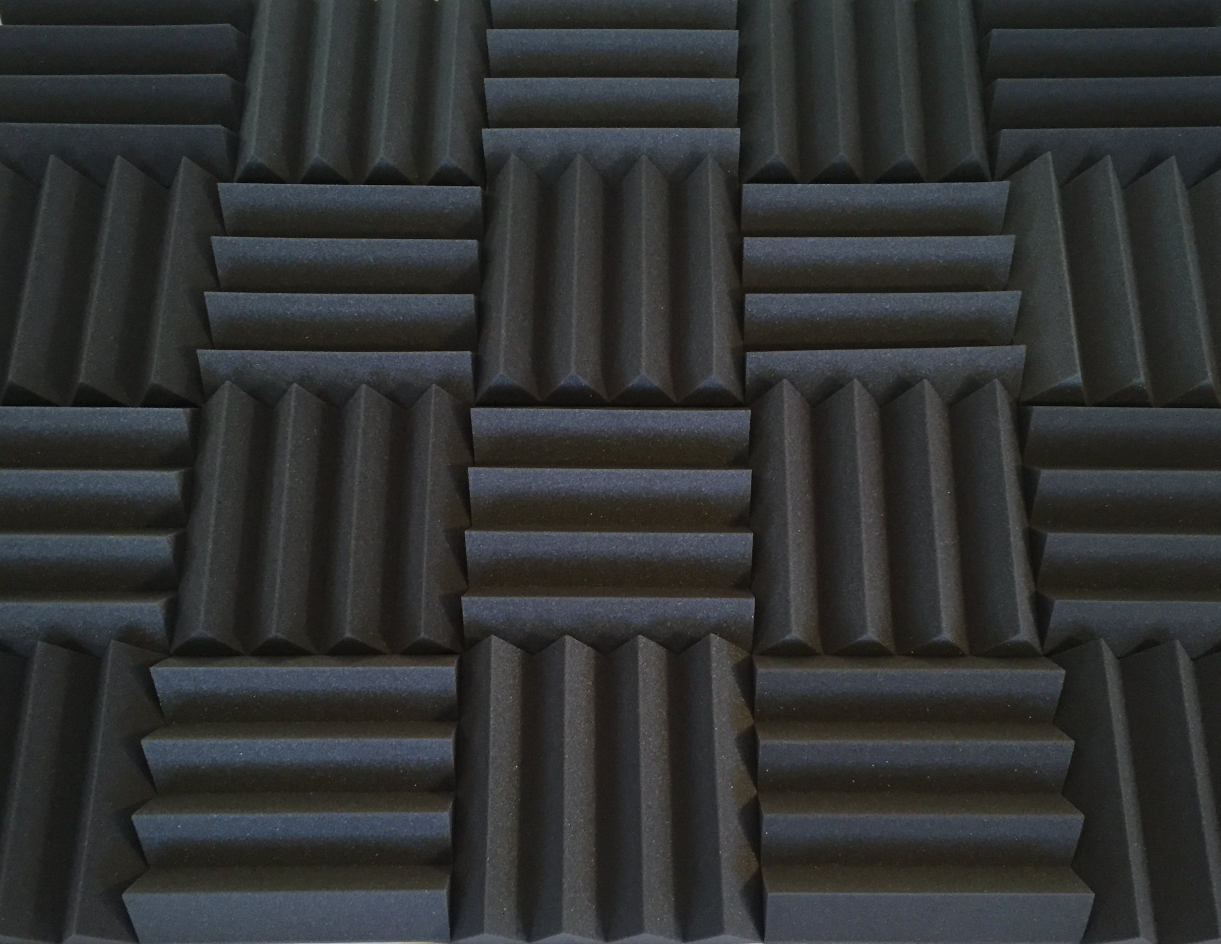 Bass Absorbing Wedge Style Panels - Soundproofing Acoustic Studio Foam - 12''x12''x3'' Tiles - 2 Pack - DIY