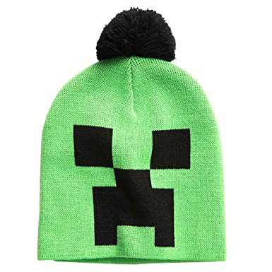 e6f90a0d6d5 Image Unavailable. Image not available for. Color  JINX Minecraft Creeper  Face Knit Pom Beanie ...