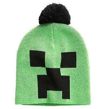 Amazon.com  JINX Minecraft Creeper Face Knit Pom Beanie (Green Black ... 9aa3d6fb34e