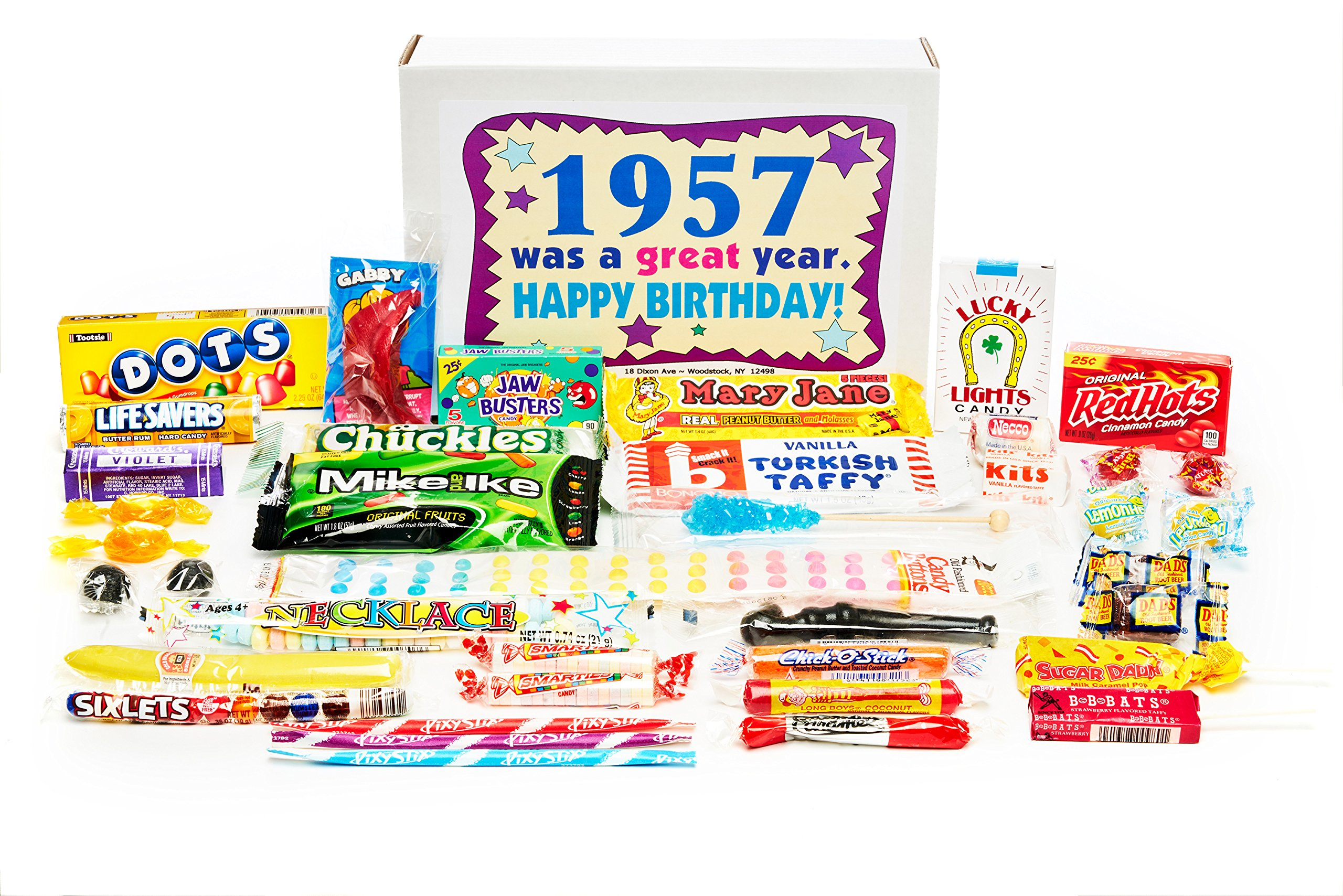Woodstock Candy ~ 1957 62nd Birthday Gift Box of Nostalgic Retro Candy Assortment for 62 Year Old Man or Woman Born 1957 Jr