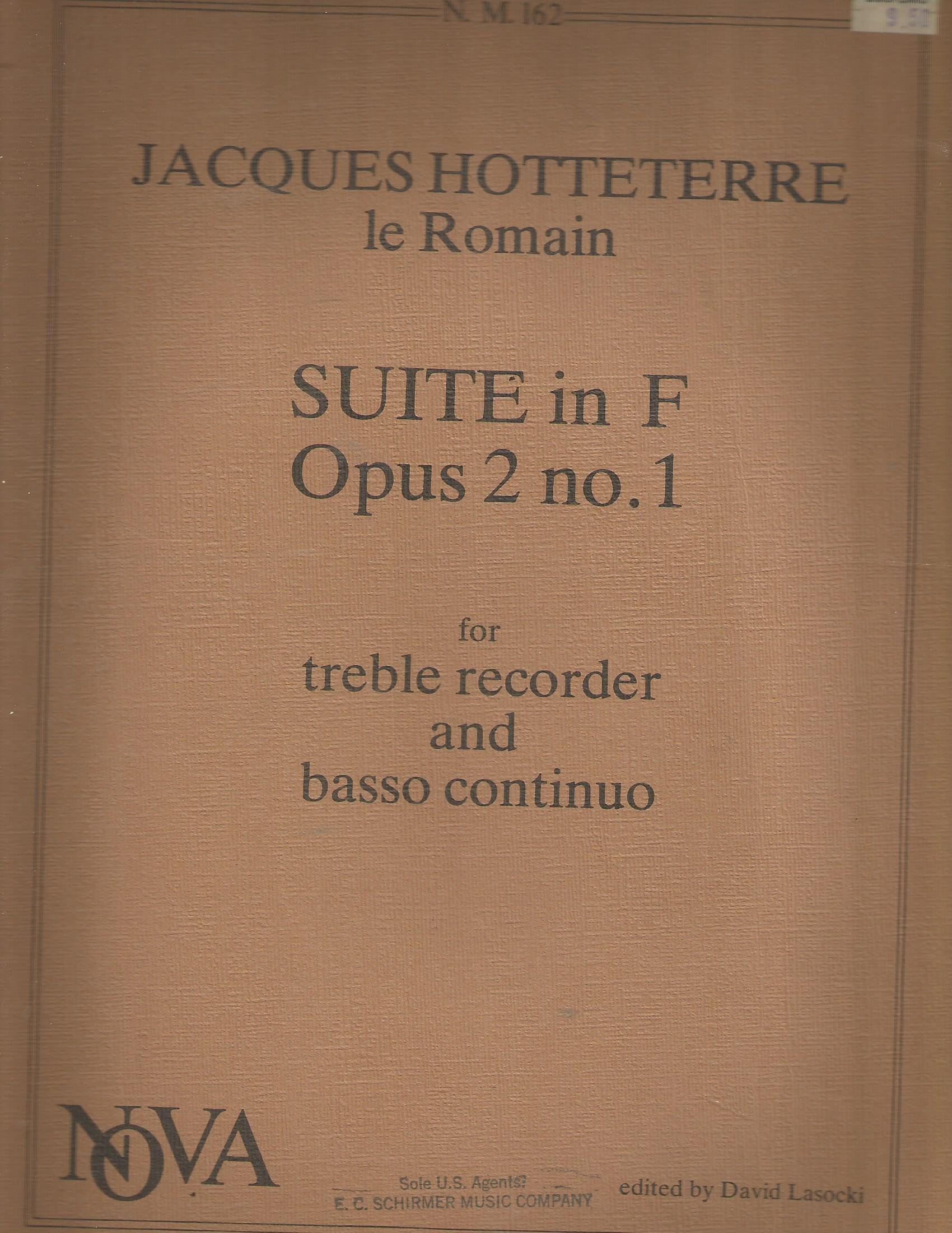 Hotteterre le Romain Suite in F Op.3 No.1 for Treble Recorder & Basso Continuo