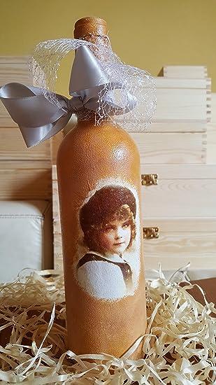 Decorativa botella de cristal francés Boy Vintage Retro Decorado a mano hecha a mano decorada con decoupage, Idea regalo de cumpleaños regalo marca nuevo: ...