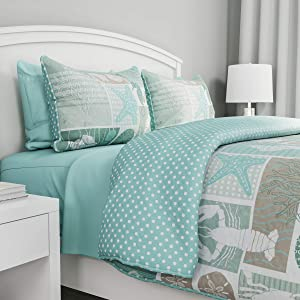 """Bedford Home 2-Piece Quilt and Bedding Set – Harbor Town-Veranda"""" Hypoallergenic Polyester Microfiber with Sham (Twin XL)"""