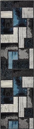 Comfy Collection Squares Geometric Design Area Rug Modern Contemporary Rug 2 Color Options Blue Grey, 1 10 x 6 11