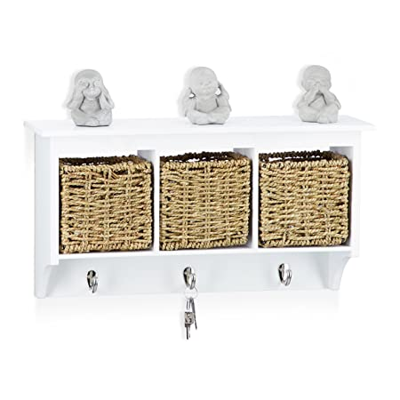 Relaxdays Wall Coat Rack With Baskets Seagrass Weave With Parcel New Wall Coat Rack With Baskets