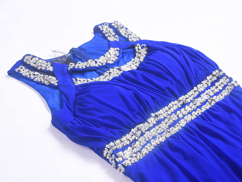Licoco Women Sleeveless Beaded Semi-Formal Long Maxi Evening Gown Wedding Dress Black