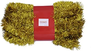 YYCRAFT 15 Yards (45 Feet) Commercial Length Thick Foil Tinsel Christmas Garland Classic Christmas Decorations, Gold