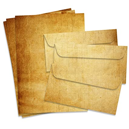 Fiesta Cards Vintage Papel de Carta y Sobres, Formato DIN A4 (21 x 29,7 cm) y DIN Largo, gramaje 90 – 100 g/m², Doble Cara, Adecuado para Todas Las ...