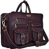 Handmade World Leather Messenger Bag - 16 Inch Briefcase Messenger Bag Brown Leather with Crossbody Shoulder Strap - Great Messenger Bag for Laptops, Business, Travel, or School
