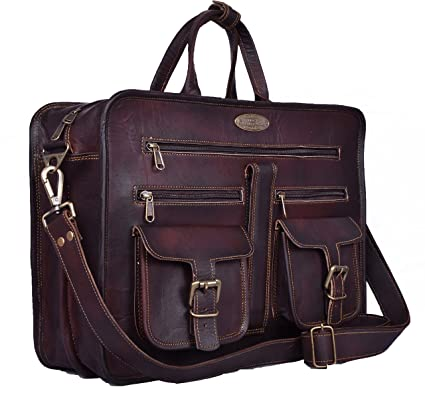 Handmade World Leather Messenger Bag - 16 Inch Briefcase Messenger Bag  Brown Leather with Crossbody Shoulder 8a20331c97aa7